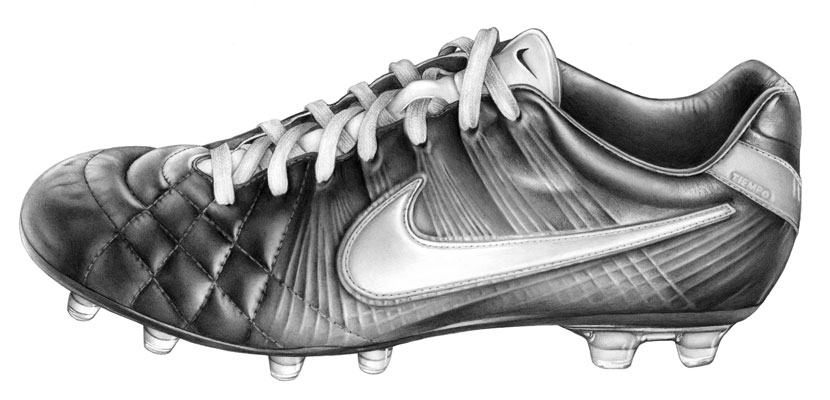 Cath Riley - recent commissions:   Nike Tiempo boot
